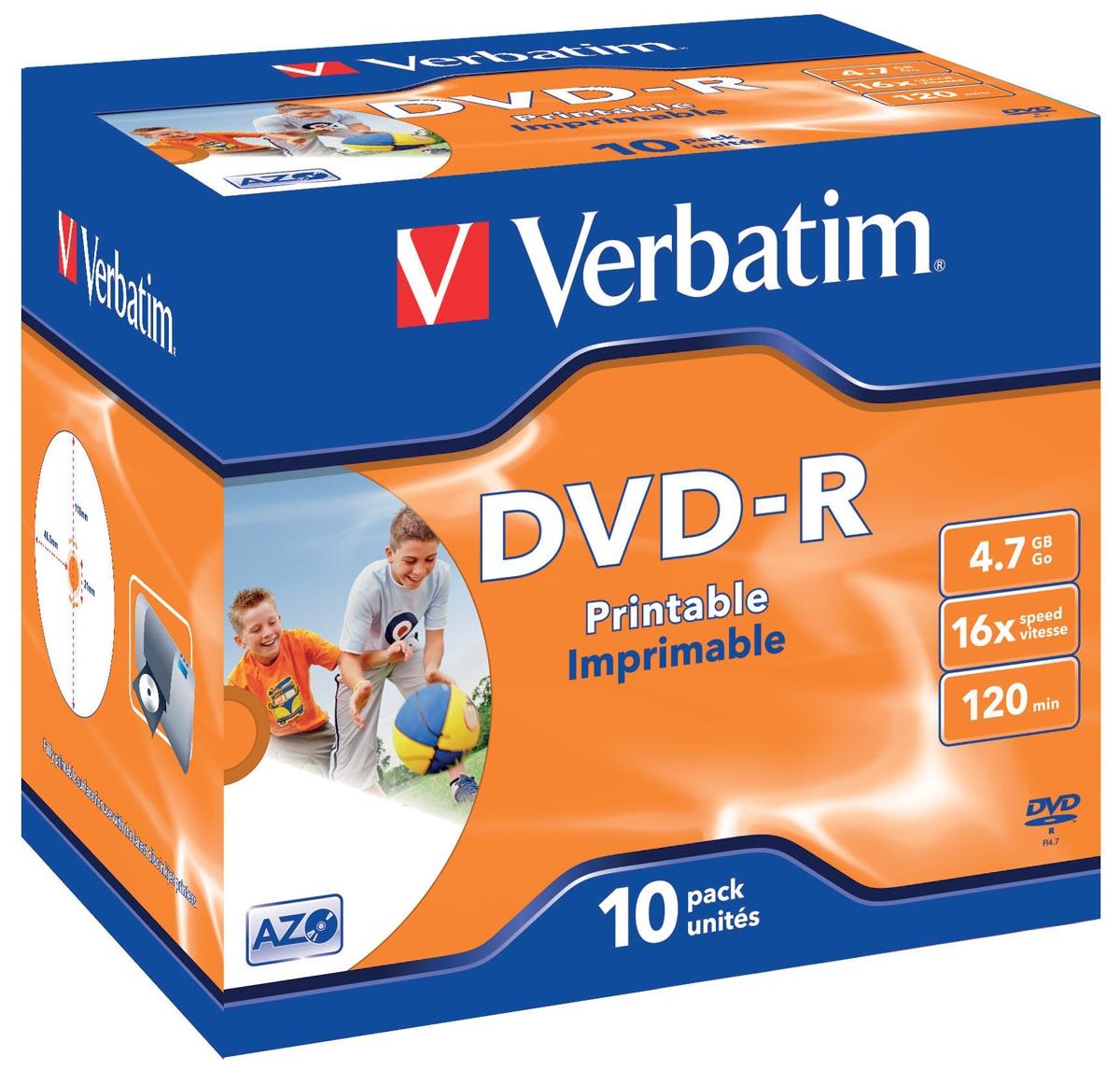 1x10 DVD-R 47GB 16x Speed Jewel Case printable