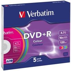 Verbatim DVD recordable DVD+R, doos van 5 stuks, individueel verpakt (Slim Case)