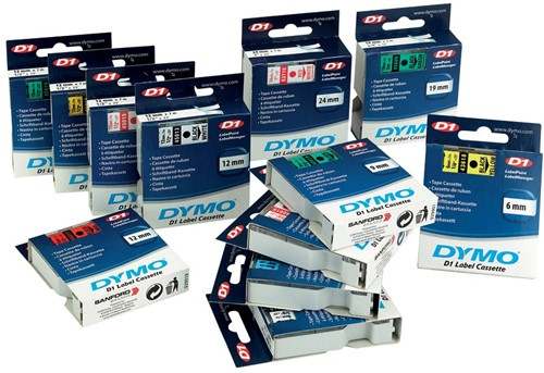 Dymo D1 tape 6 mm, zwart op transparant-3