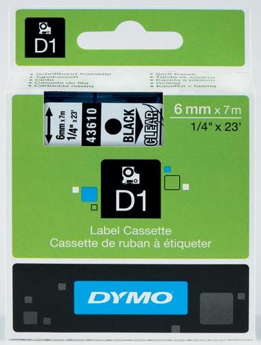 Dymo D1 tape 6 mm, zwart op transparant