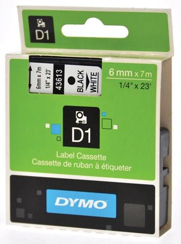Dymo D1 tape 6 mm, zwart op wit