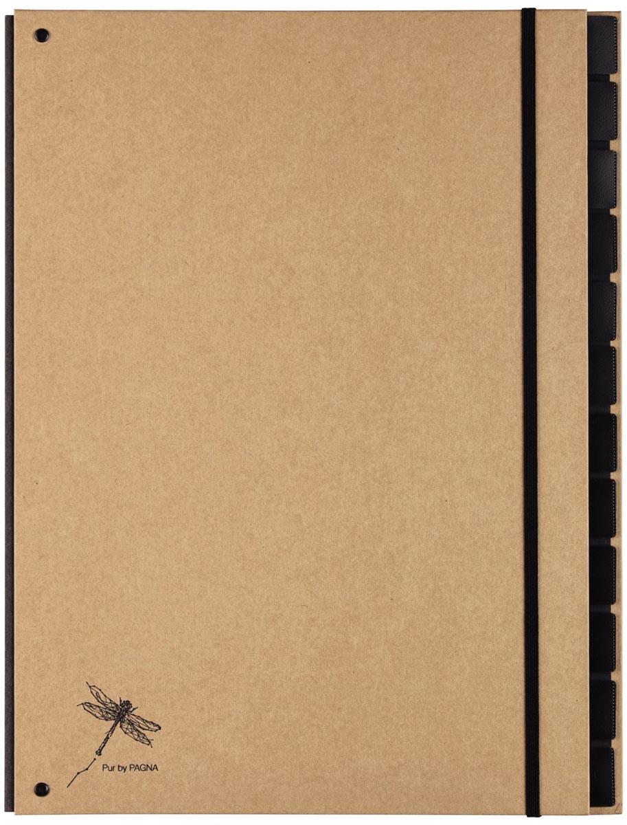 Pagna sorteermap Pur voor ft A4, 12 vakken, bruin