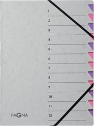 Pagna sorteermap Easy Grey voor ft A4, 12 vakken, paars