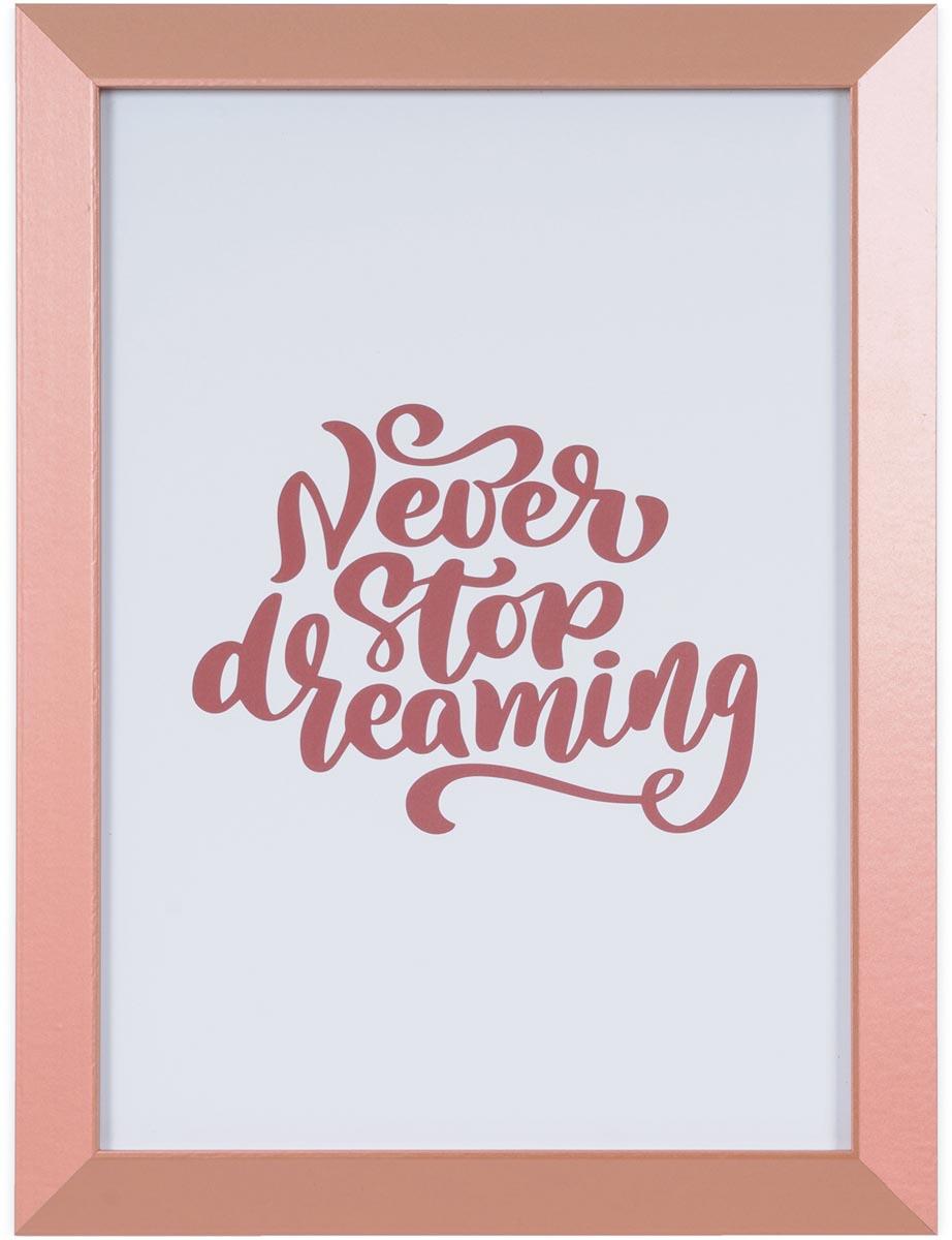 Bi-Office Kamashi whitebord never stop dreaming met koperkleurige omlijsting, ft 60 x 45 cm