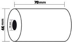 Exacompta rekenrol ft 44 mm x 70 m, asgat 12 mm, voor rekenmachines en kasregisters, pak van 10 rollen