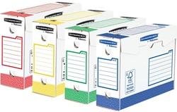Bankers Box basic archiefdoos heavy duty, ft 9,5 x 24,5 x 33 cm,  geassorteerde kleuren, pak van 8 stuks