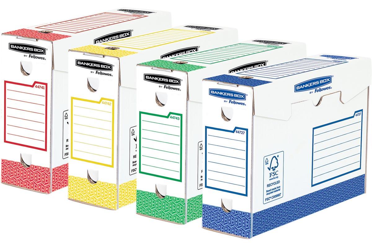 Bankers Box basic archiefdoos heavy duty, ft 9,5 x 24,5 x 33 cm, geassorteerde kleuren, pak van 8 st