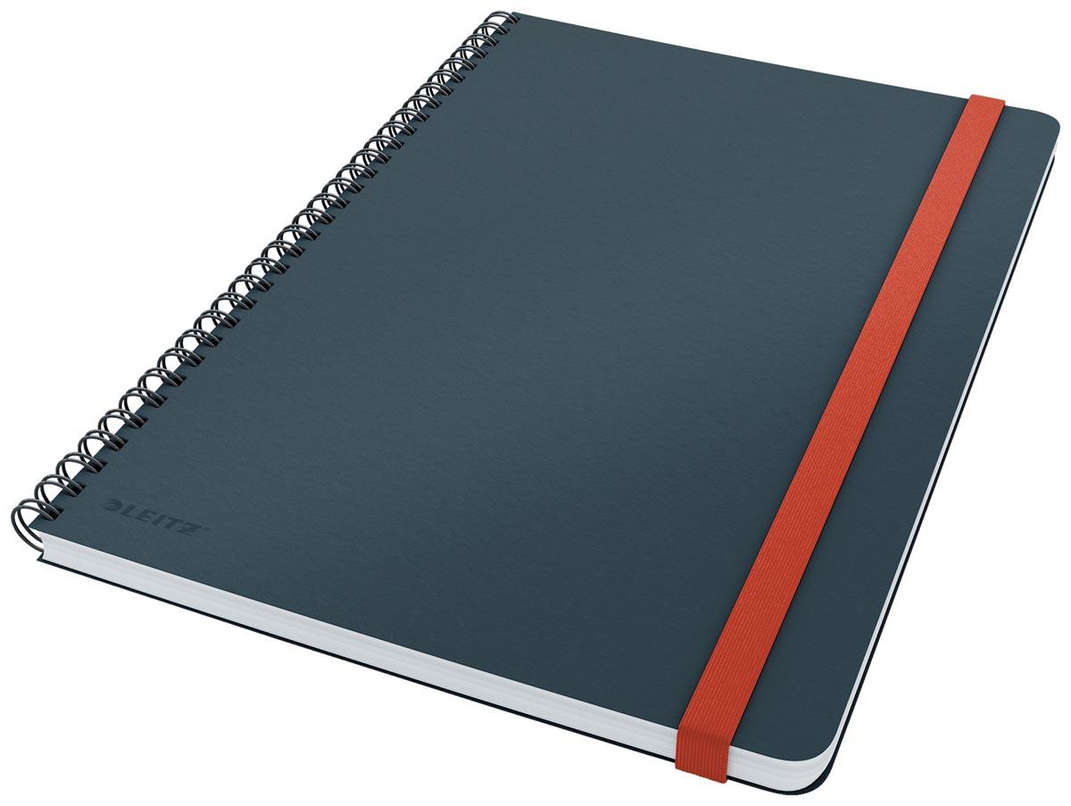 Leitz Cosy notitieboek met spiraalbinding, voor ft B5, geruit, grijs
