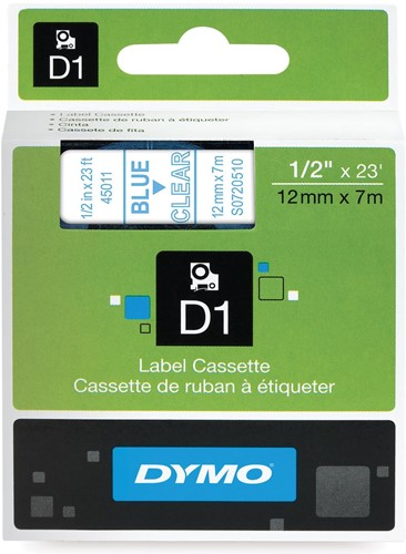 Dymo D1 tape 12 mm, blauw op transparant