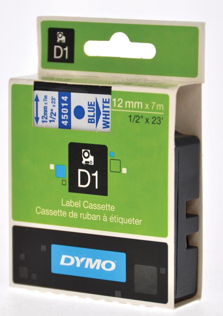 Dymo D1 tape 12 mm, blauw op wit