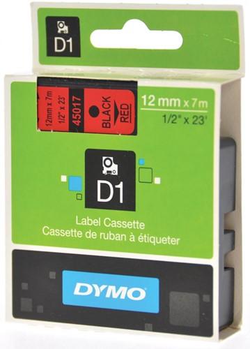 Dymo D1 tape 12 mm, zwart op rood