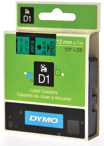 Dymo D1 tape 12 mm, zwart op groen