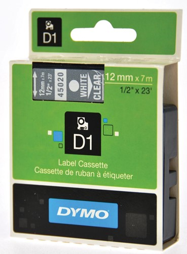 Dymo D1 tape 12 mm, wit op transparant