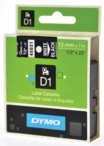 Dymo D1 tape 12 mm, wit op zwart