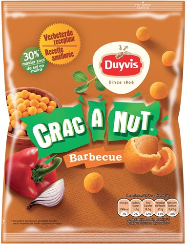 Duyvis nootjes Crac A Nut barbecue, zakje van 200 gram