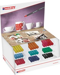 Edding display poselein-penseelstift e-4200, 46 stuks in geassorteerde kleuren