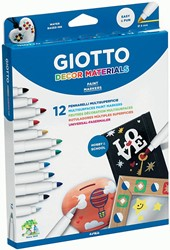 Giotto Decor Materials viltstiften, kartonnen etui met 12 stuks in geassorteerde kleuren