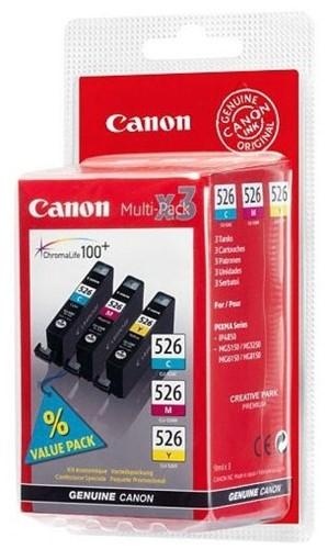 Canon inktcartridge CLI-526, 3 kleuren, 450-520 pagina's - OEM: 4541B012, met beveiligingsysteem