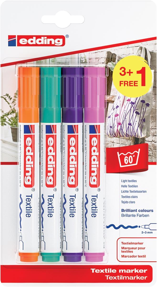 Edding textielmarker 4500, set van 4 stuks in geassorteerde trendy kleuren (3 + 1 gratis)