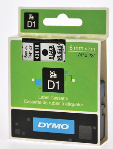 Dymo D1 tape 19 mm, zwart op transparant