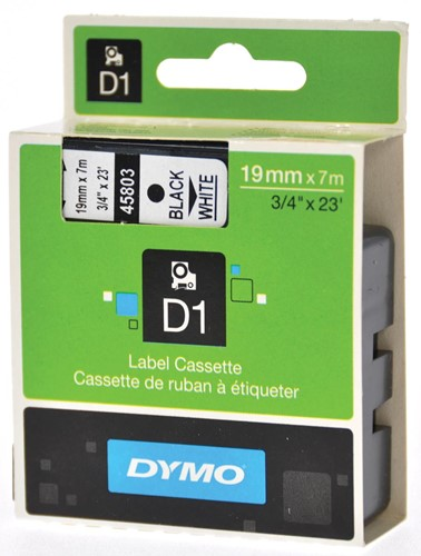 Dymo D1 tape 19 mm, zwart op wit
