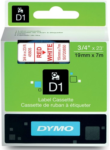 Dymo D1 permanente polyestertape 19 mm, rood op wit