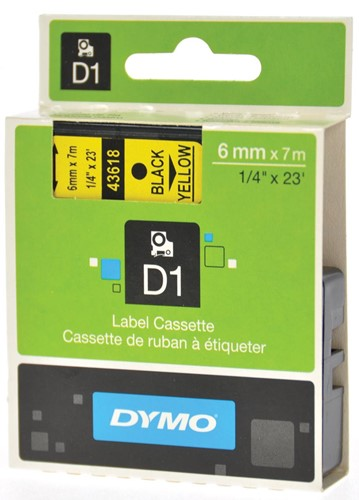 Dymo D1 tape 19 mm, zwart op geel