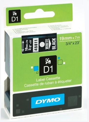 Dymo D1 tape 19 mm, wit op zwart