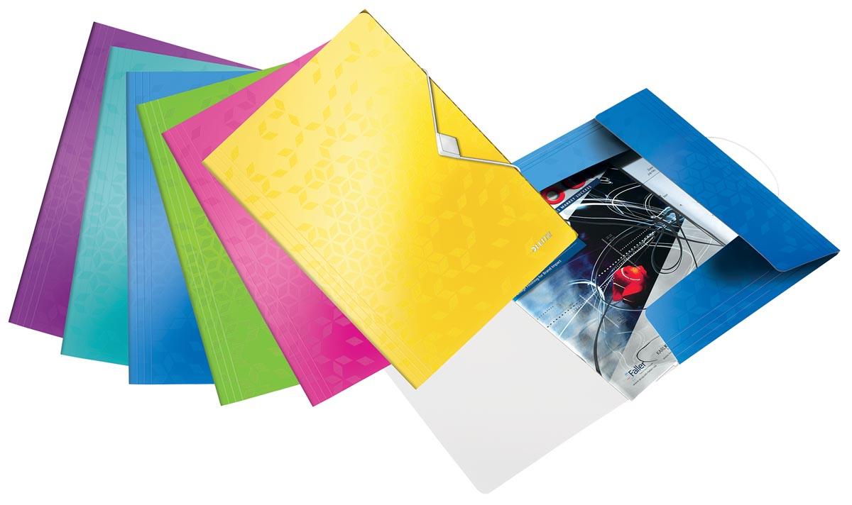 Leitz WOW elastomap met 3 kleppen, uit PP, ft A4, geassorteerde kleuren