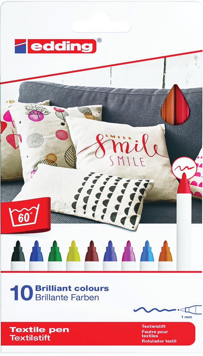 Edding textielpen 4600, set van 10 stuks in geassorteerde kleuren