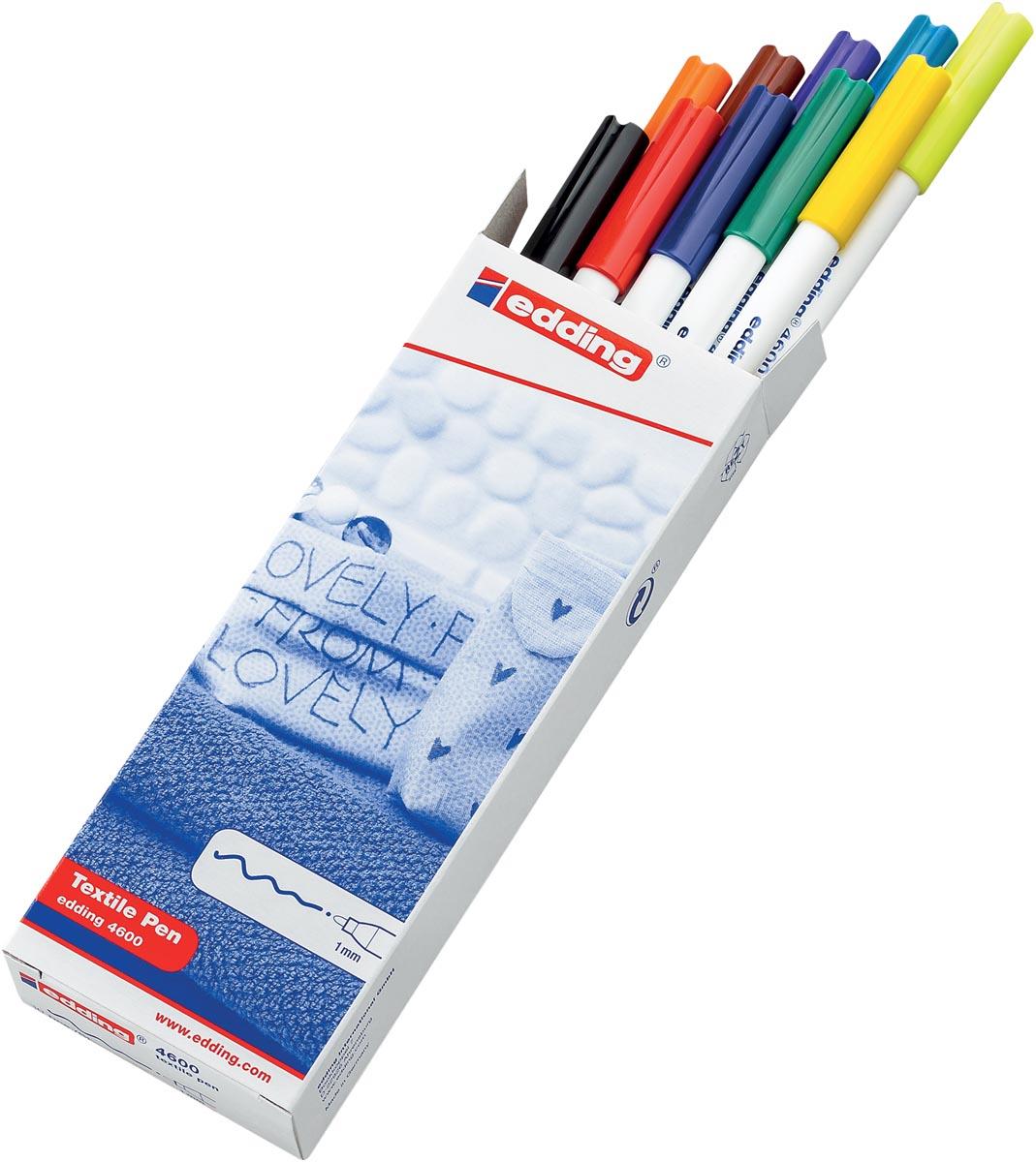 Edding textielstift 4600, doos met 10 stuks in basis kleuren