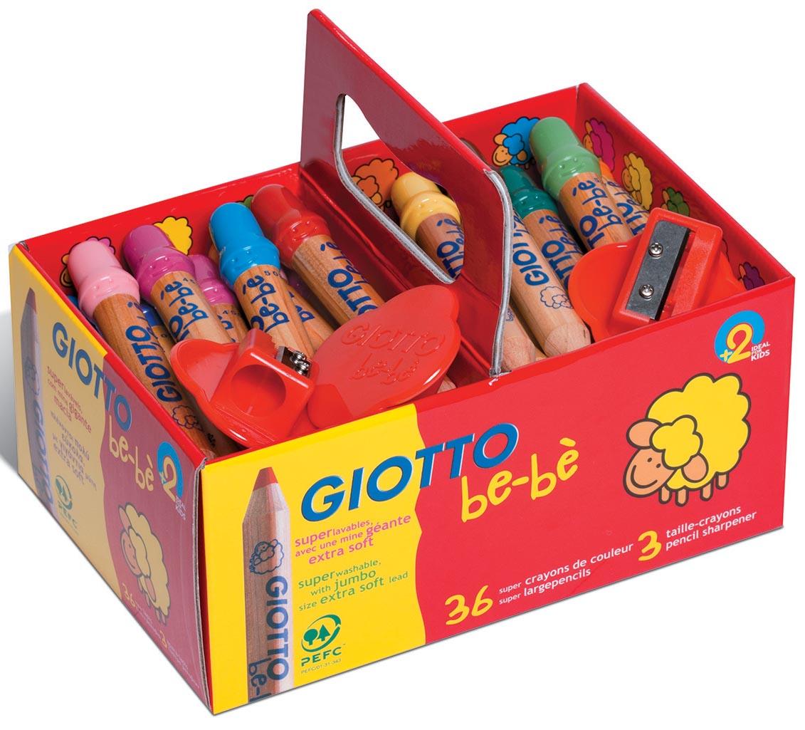 Giotto be-bè kleurpotloden Maxi, schoolpack met 36 stuks in geassorteerde kleuren maxi + 3 slijpers