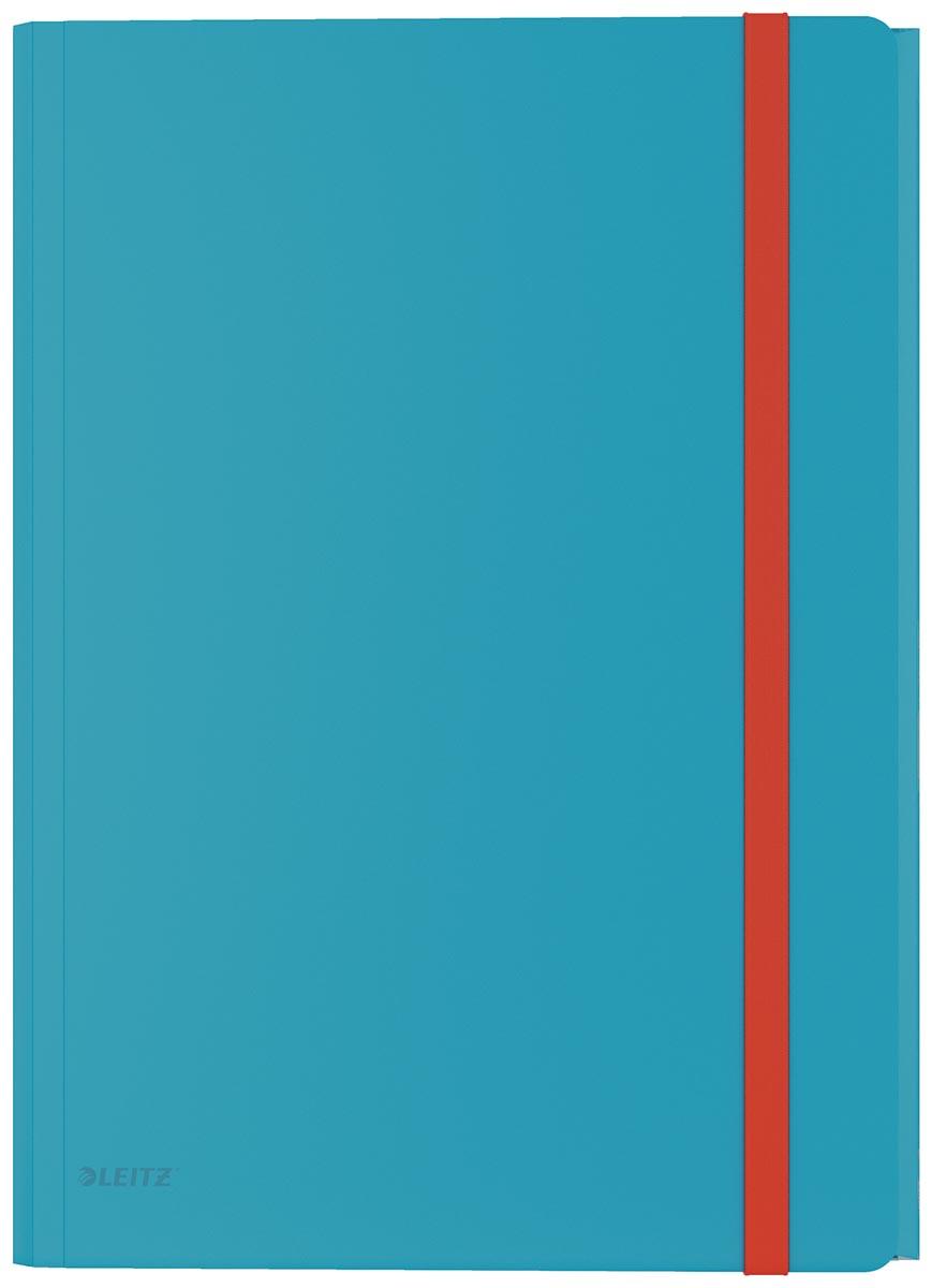 Leitz Cosy elastomap met 3 kleppen, met opbergvak met drukknoppsluiting, uit PP, ft A4, blauw