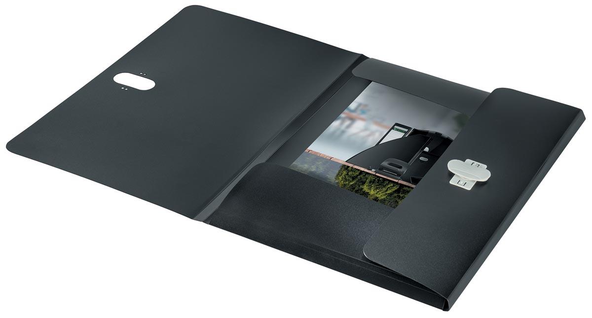Leitz Recycle elastomap met 3 kleppen, uit PP, ft A4, zwart