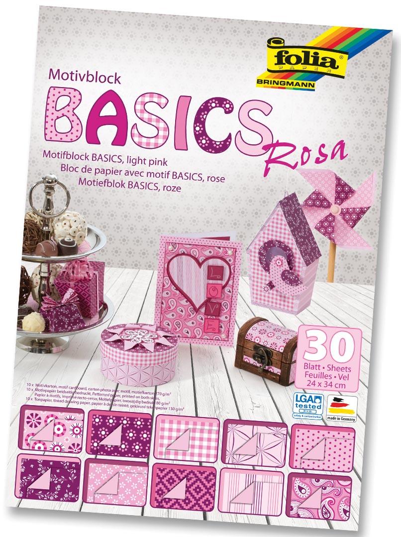 Folia Motiefpapier Basics roze