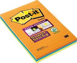Post-It Super Sticky Notes Kubus, 45 blaadjes, ft 76 x 76 mm, geassorteerde kleuren, pak van 3