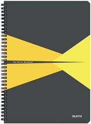 Leitz Office notitieboek, kartonnen kaft, ft A4, gelijnd, geel