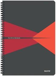 Leitz Office notitieboek, kartonnen kaft, ft A4, gelijnd, rood