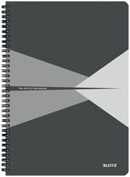 Leitz Office notitieboek, kartonnen kaft, ft A4, gelijnd, grijs