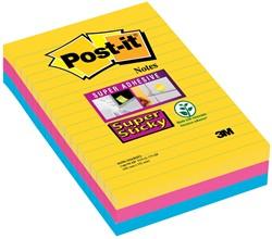 Post-it Super Sticky Notes Rio, ft 101X152 mm, 90 blaadjes, 3 blokken