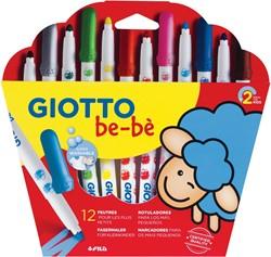 Giotto be-bè viltstiften Maxi, kartonnen etui met 12 stuks in geassorteerde kleuren