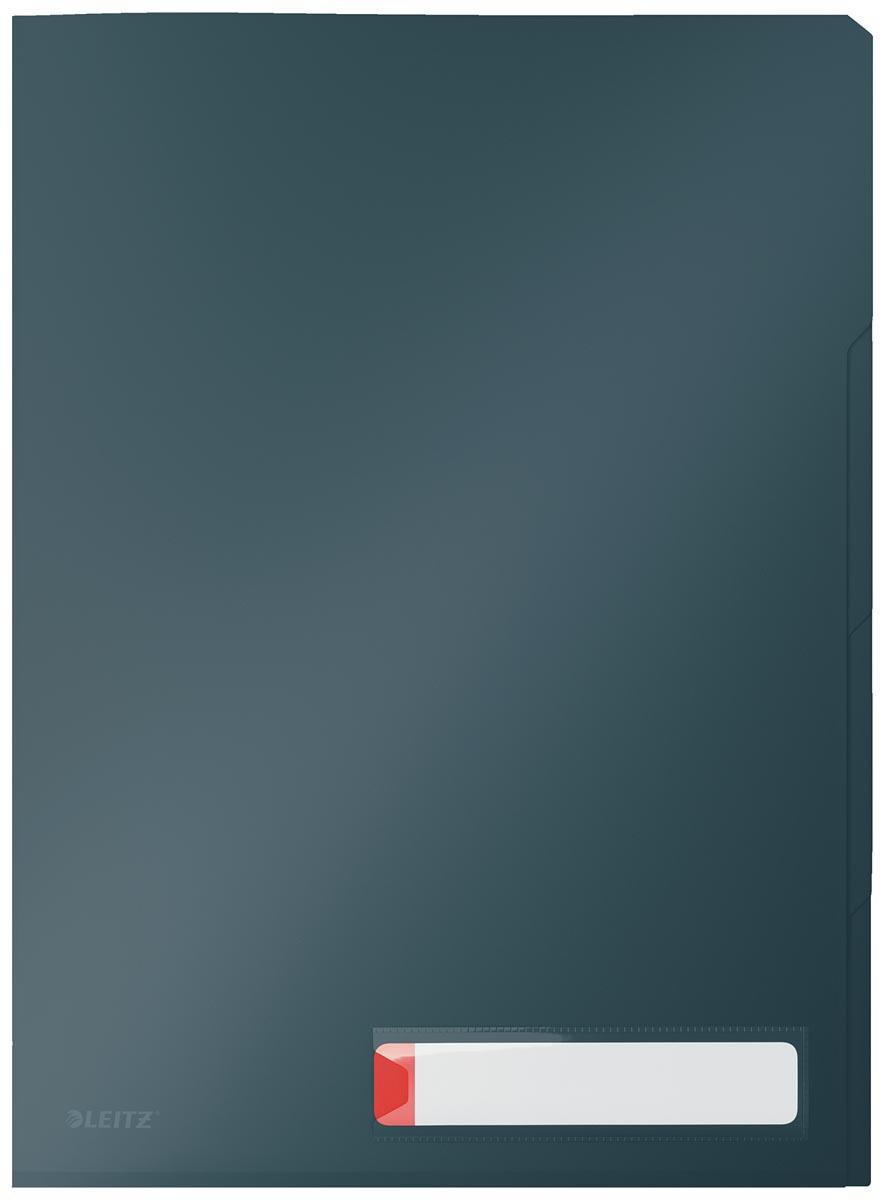 Leitz Cosy L-map met tabbladen, 3 compartimenten, ft A4, PP van 200 micron, ondoorzichtig, grijs