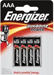 Energizer batterijen Alkaline Power AAA, blister van 4 stuks