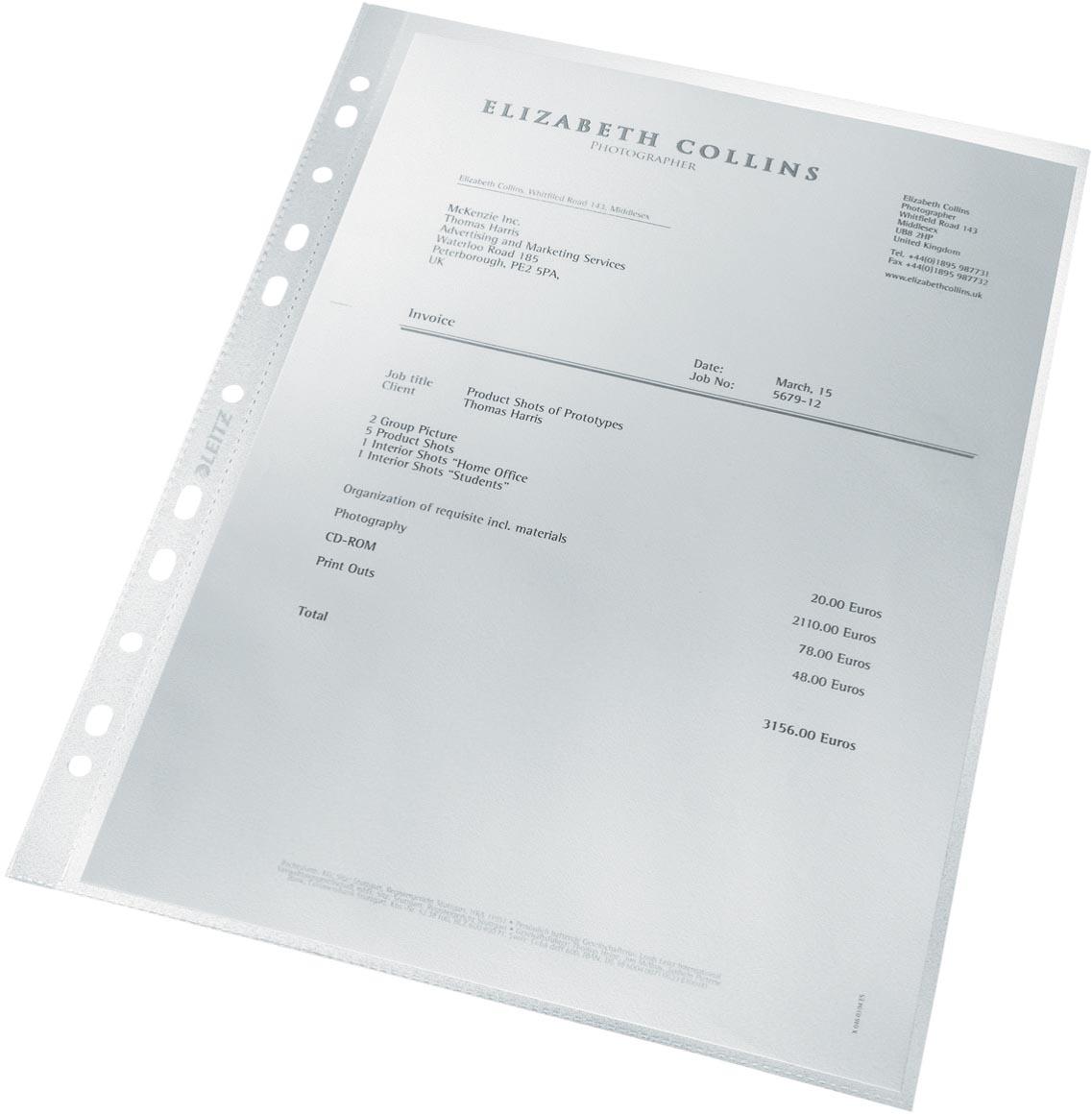 Leitz Recycle geperforeerde showtas, ft A4, 100 micron, gekorreld, doos van 25 stuks