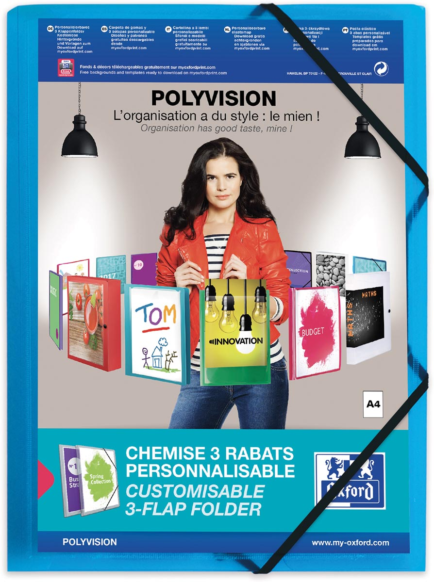 OXFORD Polyvision elastomap, formaat A4, uit PP, transparant blauw