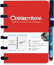 Correctbook A6 gelijnd herbruikbaar notitieboekje, rood