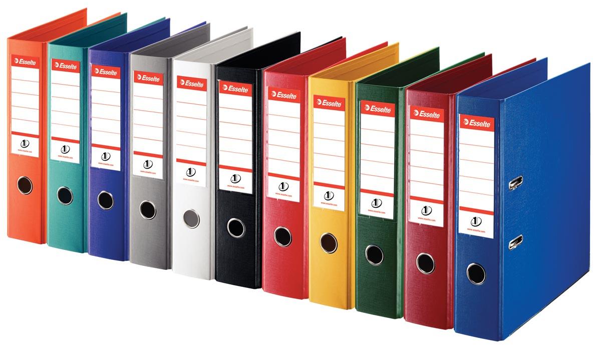 Esselte ordner Power N°1 geassorteerde kleuren: 2 x rood, groen, blauw, wit en zwart, rug van 7,5 cm