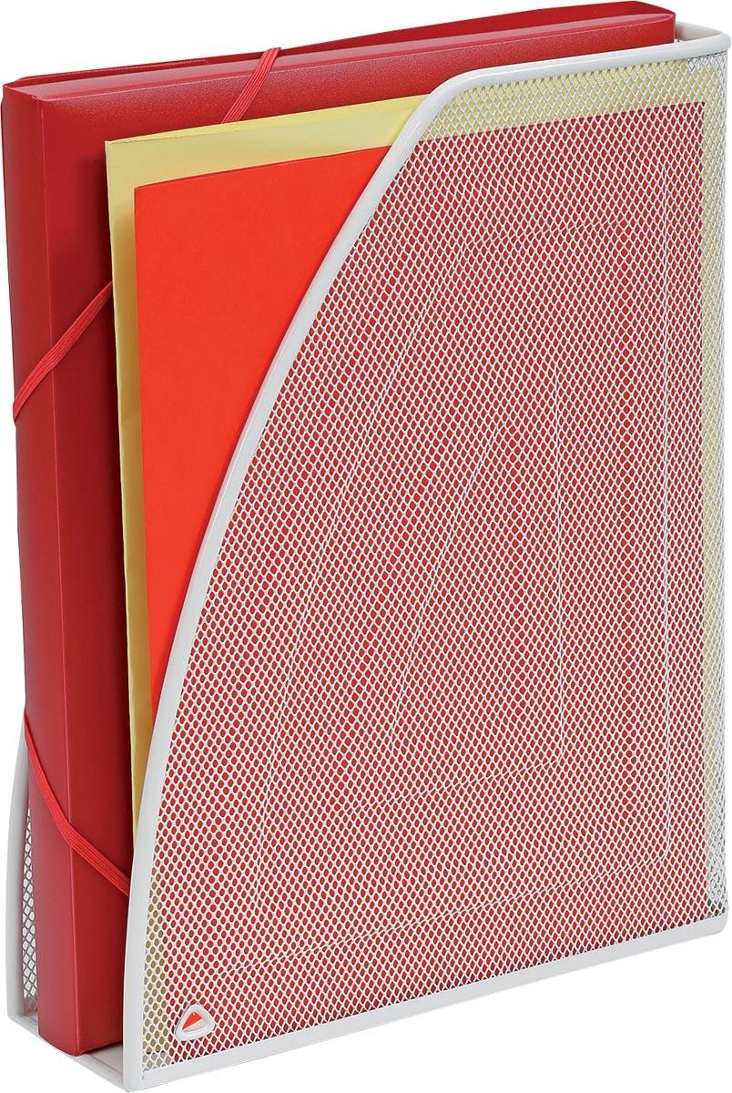 Alba tijdschriftenhouder in mesh metaal, wit