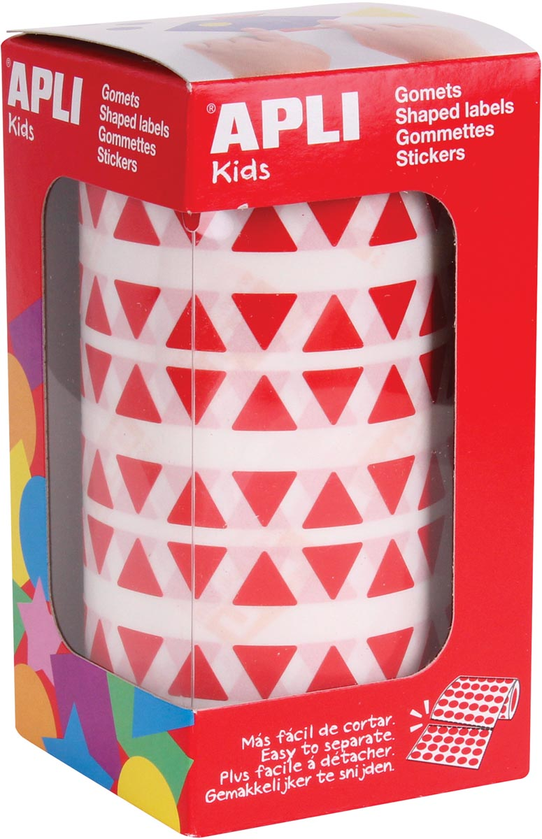 Apli Kids stickers op rol, driehoek 10,5 x 10,5 x 10,5 mm, rood