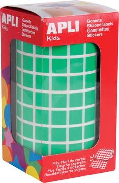 Apli Kids stickers op rol, vierkant 10 x 10 mm, groen